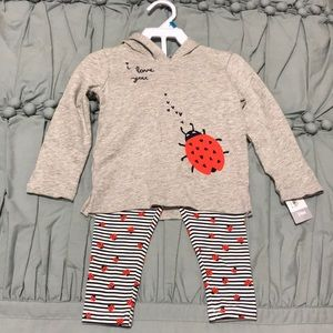 "NEW CARTERS 2 Piece ""I LOVE YOU""  lady bug"